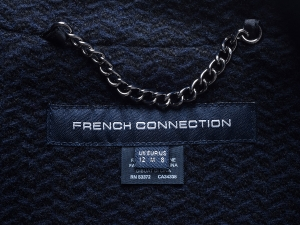 French Connection 프렌치 커넥션, FCUK 패턴 자카드 레더 트림 코트