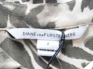 Diane Von Furstenberg 다이앤 본 퍼스텐버그, dvf, 다이안 본 퍼스텐버그, 다이안본퍼스텐버그 카키 베이지 실크 패턴 원피스